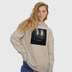 Толстовка оверсайз женская Скриптонит Чистый цвета миндальный — фото 2