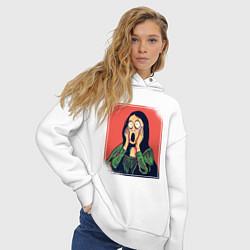 Толстовка оверсайз женская Мона Лиза Крик Мунка пародия цвета белый — фото 2