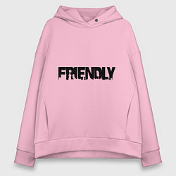 Толстовка оверсайз женская DayZ: Im friendly цвета светло-розовый — фото 1