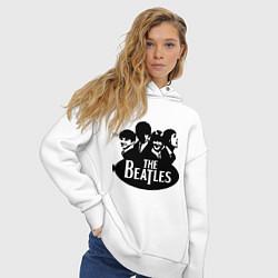 Толстовка оверсайз женская The Beatles Band цвета белый — фото 2