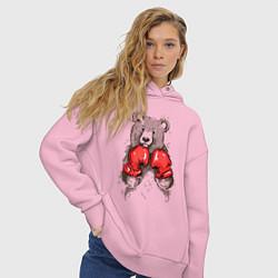 Толстовка оверсайз женская Bear Boxing цвета светло-розовый — фото 2