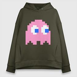 Толстовка оверсайз женская Pac-Man: Pinky цвета хаки — фото 1