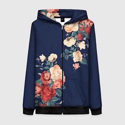 Толстовка на молнии женская Fashion flowers цвета 3D-черный — фото 1