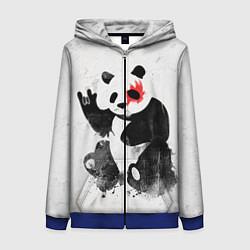Толстовка на молнии женская Рок-панда цвета 3D-синий — фото 1