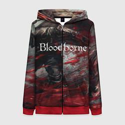Толстовка на молнии женская Bloodborne цвета 3D-красный — фото 1