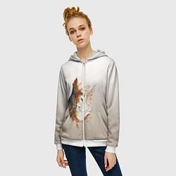 Толстовка на молнии женская Летящая сова рисунок цвета 3D-белый — фото 2