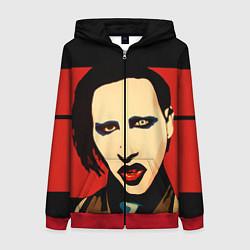 Толстовка на молнии женская Mаrilyn Manson цвета 3D-красный — фото 1