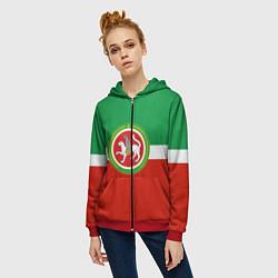 Толстовка на молнии женская Татарстан: флаг цвета 3D-красный — фото 2