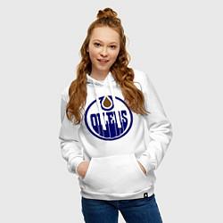 Толстовка-худи хлопковая женская Edmonton Oilers цвета белый — фото 2