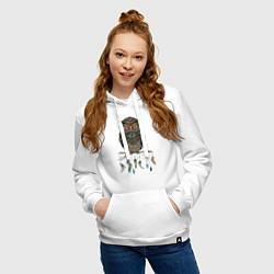 Толстовка-худи хлопковая женская Сова-шаман цвета белый — фото 2