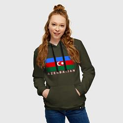 Толстовка-худи хлопковая женская Азербайджан цвета хаки — фото 2