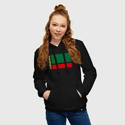 Толстовка-худи хлопковая женская Чечня: флаг цвета черный — фото 2