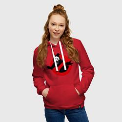 Толстовка-худи хлопковая женская Крик: запрещено цвета красный — фото 2