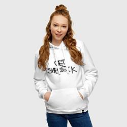Толстовка-худи хлопковая женская Get sherlock цвета белый — фото 2