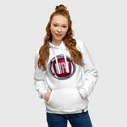 Толстовка-худи хлопковая женская FIAT logo цвета белый — фото 2