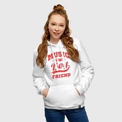 Толстовка-худи хлопковая женская Music is my boyfriend цвета белый — фото 2