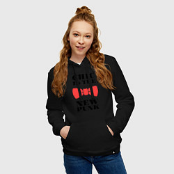 Толстовка-худи хлопковая женская Chic is the new punk цвета черный — фото 2
