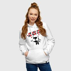 Толстовка-худи хлопковая женская Лешкина любимка цвета белый — фото 2