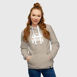 Толстовка-худи хлопковая женская Жигули Ваз 2105 цвета миндальный — фото 2