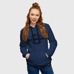 Толстовка-худи хлопковая женская Made in Kalmykia цвета тёмно-синий — фото 2