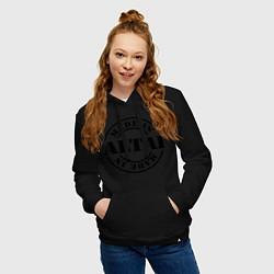 Толстовка-худи хлопковая женская Made in Altai цвета черный — фото 2