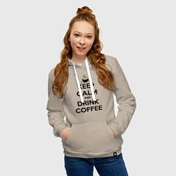 Толстовка-худи хлопковая женская Keep Calm & Drink Coffee цвета миндальный — фото 2