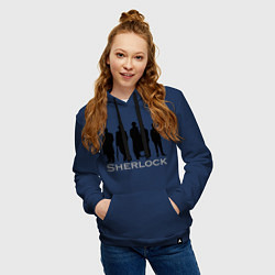 Толстовка-худи хлопковая женская Sherlock Band цвета тёмно-синий — фото 2