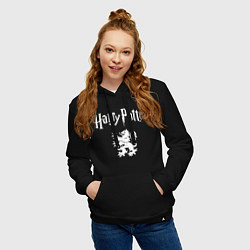 Толстовка-худи хлопковая женская Гарри Поттер цвета черный — фото 2