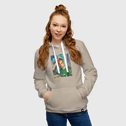 Толстовка-худи хлопковая женская Sheldon Cooper цвета миндальный — фото 2