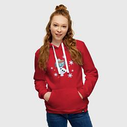 Толстовка-худи хлопковая женская Веселый Олаф цвета красный — фото 2