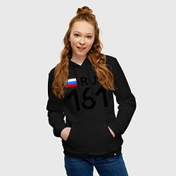 Толстовка-худи хлопковая женская RUS 161 цвета черный — фото 2