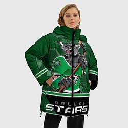 Женская зимняя 3D-куртка с капюшоном с принтом Dallas Stars, цвет: 3D-черный, артикул: 10106986406071 — фото 2