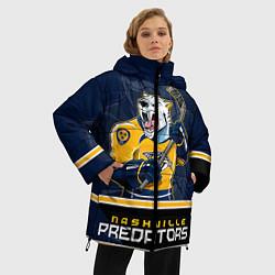 Женская зимняя 3D-куртка с капюшоном с принтом Nashville Predators, цвет: 3D-черный, артикул: 10106987306071 — фото 2