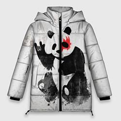 Куртка зимняя женская Рок-панда цвета 3D-черный — фото 1