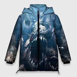 Женская зимняя 3D-куртка с капюшоном с принтом Голодные пираньи, цвет: 3D-черный, артикул: 10111584206071 — фото 1