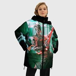 Женская зимняя 3D-куртка с капюшоном с принтом Iron Maiden: Rocker Robot, цвет: 3D-черный, артикул: 10112079806071 — фото 2