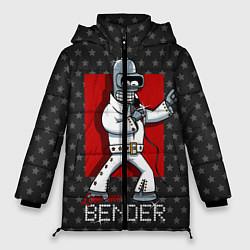 Женская зимняя 3D-куртка с капюшоном с принтом Bender Presley, цвет: 3D-черный, артикул: 10113799106071 — фото 1