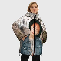 Женская зимняя 3D-куртка с капюшоном с принтом Min Yoon Gi, цвет: 3D-черный, артикул: 10114633406071 — фото 2