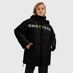 Женская зимняя 3D-куртка с капюшоном с принтом Brazzers, цвет: 3D-черный, артикул: 10114763906071 — фото 2