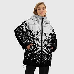 Женская зимняя 3D-куртка с капюшоном с принтом Птичий вихрь, цвет: 3D-черный, артикул: 10115627906071 — фото 2
