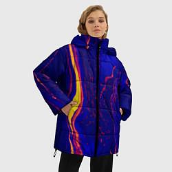 Женская зимняя 3D-куртка с капюшоном с принтом Ультрафиолетовые разводы, цвет: 3D-черный, артикул: 10134103706071 — фото 2