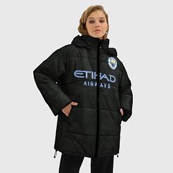 Женская зимняя 3D-куртка с капюшоном с принтом Man City FC: Black 17/18, цвет: 3D-черный, артикул: 10137896506071 — фото 2