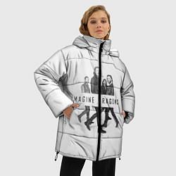 Женская зимняя 3D-куртка с капюшоном с принтом Imagine Dragons: White, цвет: 3D-черный, артикул: 10138104306071 — фото 2
