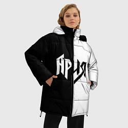 Женская зимняя 3D-куртка с капюшоном с принтом Ария Ч/Б, цвет: 3D-черный, артикул: 10142844306071 — фото 2