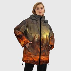 Женская зимняя 3D-куртка с капюшоном с принтом Linage II: Fire Dragon, цвет: 3D-черный, артикул: 10147854506071 — фото 2