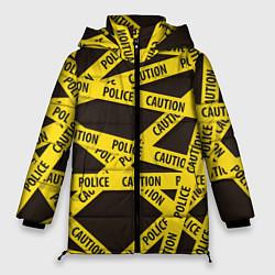 Женская зимняя 3D-куртка с капюшоном с принтом Police Caution, цвет: 3D-черный, артикул: 10149339106071 — фото 1