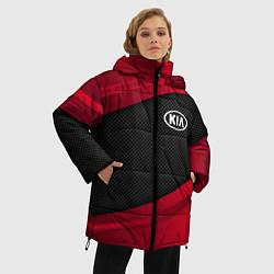 Женская зимняя 3D-куртка с капюшоном с принтом Kia: Red Sport, цвет: 3D-черный, артикул: 10152996306071 — фото 2