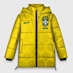 Женская зимняя 3D-куртка с капюшоном с принтом Brazil Team: WC 2018, цвет: 3D-черный, артикул: 10154615706071 — фото 1