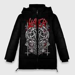 Женская зимняя 3D-куртка с капюшоном с принтом Slayer: Hell Goat, цвет: 3D-черный, артикул: 10156416706071 — фото 1