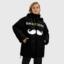 Женская зимняя 3D-куртка с капюшоном с принтом BRAZZERS, цвет: 3D-черный, артикул: 10162468706071 — фото 2